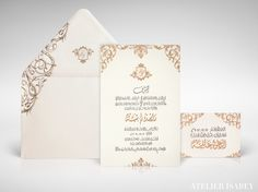 Good Gold Foil Invitation With Arabic Text For A Wedding In Qatar.