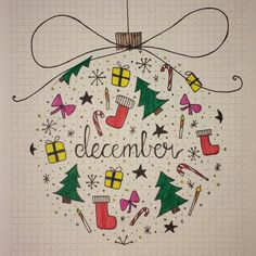 I did the drawing with markers for the draw-effect  love The idea  December theme, Bullet journal, Christmas