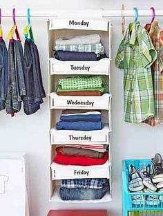 Organize your kid's — or heck, your own — clothes by days of the week! | 53 Seriously Life-Changing Clothing Organization Tips