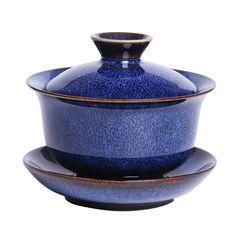 Jianzhan Rabbit Hair Blue Gaiwan 170 cc / Pitcher / Strainer / Tea Cup, KTM009 Chinese Tea Set, Blue Hair, Barware, Tea Cups, Rabbit, Porcelain, Products, Bunny, Rabbits