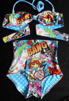 Pop Art Ka-Pow Bandeau Bikini by mclaineo