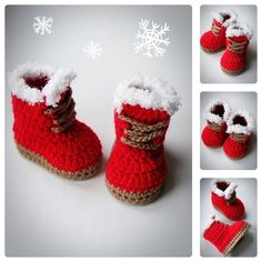 Christmas Baby Booties, Red Booties, Crochet Baby Shoes, Newborn and Infant…