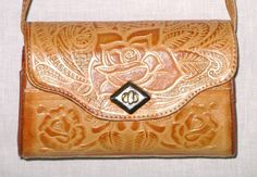 Tooled Genuine Leather Crossbody Messenger Bag Purse Camel Leather Roses Fur Cowgirl Purse Horse Horseshoe Cowhide Hand Bag