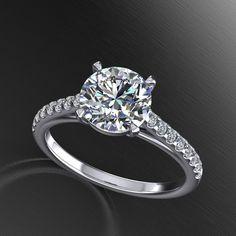 handmade diamond  and moissanite engagement ring ,with 7.5mm moissanite center,  wedding ring, style 148WDM by fabiandiamonds on Etsy https://www.etsy.com/listing/216611022/handmade-diamond-and-moissanite