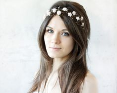 Bridal tiara, wedding tiara, wedding flower crown, Blush tiara, Pink headpiece, headband, bridal hair accessories, pearls, Gold headband by ArsiArt on Etsy