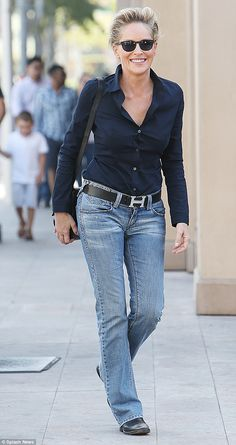 Casual stroll: Sharon Stone went for a tomboyish look on Friday when she went for lunch in...