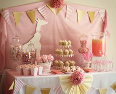 Pink Giraffe Baby Shower  Love the muted pink & glass jars. Could definitely change up the patterns.