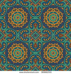 Mandala doodle drawing. Colorful seamless ornament. Ethnic motives. Green, blue, brown tones #bubushonok #art #bubushonokart #design #vector #shutterstock  #pattern #fabric #seamless #doodle
