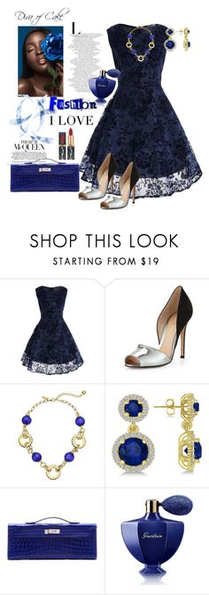 """""""Blue"""" by Diva of Cake on  Polyvore featuring Gianvito Rossi, Kate Spade, Allurez, Hermès and Guerlain"""