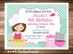 This listing is for a printable invitation. (No printed materials will be shipped, you will only receive the high res digital file.) With your file you may print as many copies as you need.  *****HOW TO ORDER***** In the note to seller section, please include: * Name * Age child is turning * Date of Baking Birthday Parties, Baking Party, Elmo, Printable Invitations, Invitation Cards, Birthday Party Invitations, Birthday Party Themes, Little Girl Birthday, 10th Birthday