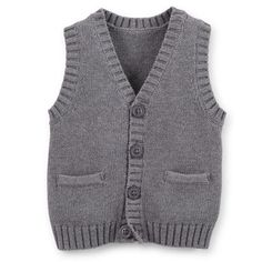 Carter's Baby-boys' Cotton Knit Sweater Vest with Pockets Heather Grey Niñas Carters Baby, Carters Baby Boy Clothes, Baby Boy Tops, Baby Boy Pajamas, Babies Clothes, Babies Stuff, Baby Gap, Baby Boy Jumpsuit, Baby Boy Overalls