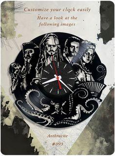 Pirates of the Caribbean vinyl record clock, vinyl wall clock, vinyl clock 093 #newlifeofvinyl