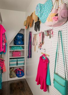 The pegboard wall is a great idea, especially for a smaller closet space. But don't worry ladies the pegboard still holds our staple, a Kate Spade cross body bag! Teen Closet, Closet Bedroom, Bedroom Decor, Teen Bedroom, Closet Wall, Bedroom Furniture, Loft Closet, Furniture Storage, Closet Space
