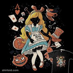 Wonderland Girl | Shirtoid #aliceinwonderland #cheshirecat #eduely #film #madhatter #movies #playingcard