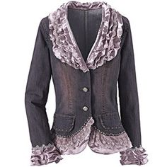 The classic denim jacket, with lace and ruffles, layers of dusty rose satin adorn the lapels and collar, picked up in double and triple tiers of the same material at cuffs and hemline. Faceted crystals sparkle on the antiqued pewter buttons, and delicate shell and beadwork trim the pocket flaps and front hem.