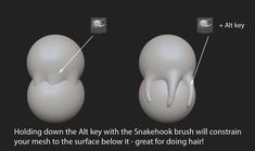 Zbrush: tip for snakehook brush, hold down alt key with brush to constrain the movement to surface below Tutorial Zbrush, 3d Tutorial, Photoshop Tutorial, Zbrush Character, Character Modeling, Sculpting Tutorials, Art Tutorials, Blender 3d, Zbrush Hair