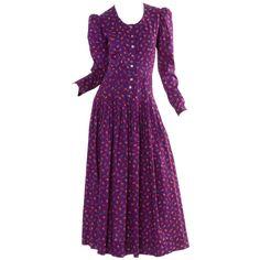 Vintage Saint Laurent Floral Dress 1970s YSL