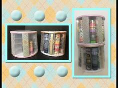 This rotating storage holds 200 rolls of washi tape. Everything you need for this you can get at the Dollar Tree! Craft Room Storage, Craft Organization, Diy Storage, Organizing Life, Bathroom Storage, Storage Ideas, Dollar Tree Decor, Dollar Tree Crafts, Washi Tape Storage