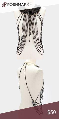 "NEW Draped Pearl Strand Bib Body Chain Necklace Black & Gold Draped Long Pearl Strand Bib Body Chain Necklace Details: • Style No : 335262 • Color : Black, Gold • Theme : Pearl  • Necklace Size : 16"" + 3"" L • Decor Size : 20"" L  • Earrings Size : 1.75"" L • Draped long pearl strand bib body chain necklace Jewelry"