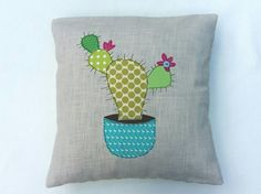 Cactus cushion cover Prickly Pear decorative throw by tailorbirds