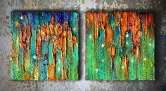 Original Abstract Art / Turquoise Painting / Mixed por ABYSSIMO