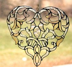 Stained Glass Heart Suncatcher Art Nouveau Glass Art Window Ornament - Made To Order Wedding Gift, Anniversary, Gardener