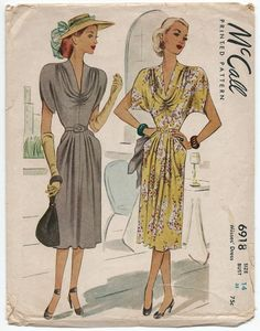 Vintage 1940s Sewing Pattern McCall 6918 Misses by PTArchaeology