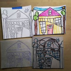"""""""Draw me a picture and I'll make a stamp from it. """" I told my 7yo daughter. I love the process and the result!  #art #TenaciousGoods #printmaking #linocut #linoprint #reliefprint #family #kids #house #home #love"""