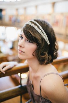 Items similar to Empire Headpiece - champagne braid trim japanese beads vermeil chain - bridal headband MADE TO MEASURE - grecian gatsby flapper on Etsy Curled Hairstyles, Headband Hairstyles, Wedding Hairstyles, 1920s Hair, 1920s Flapper, Updo With Headband, Gatsby Makeup, Twist Braids, Bridal Headpieces
