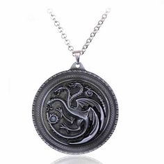 Game Of Thrones House Targaryen Dragon Badge Necklace Link Chain Pendant Jewelry Silver Pendant Necklace, Diy Necklace, Pendant Jewelry, Necklaces, Necklace Price, Game Of Thrones Necklace, Game Of Thrones Dragons, Game Of Throne Daenerys, Beading Tools