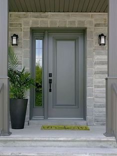 Storm Door Sidelights Cool Front Door Designs With Sidelights Shelterness. How To Choose A Front Door With Sidelights Interior . Home and Family Grey Front Doors, Painted Front Doors, The Doors, Windows And Doors, Solid Wood Front Doors, House With Grey Windows, Black House, Gray Front Door Colors, Unique Front Doors