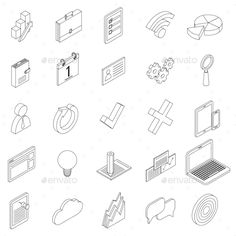 Office Equipment Icons Set, Isometric 3d Style by Ylivdesign Office equipment icons set in isometric 3d style on a white background