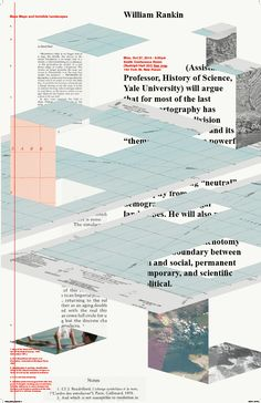"""Michela Povoleri (New York) """"Base Maps and Invisible Landscapes"""" poster for lecture by William Rankin, 2014"""