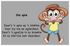 Die Apie - Kinderrympies in Afrikaans Kids Poems, Children Songs, Preschool Learning, Preschool Activities, Afrikaans Language, Child Development, Kids Education, Nursery Rhymes, Pre School