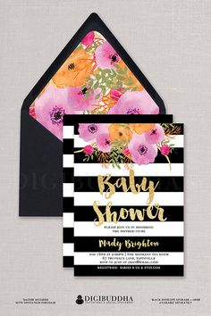Painterly Black & White Stripe Baby Shower Invitation with boho watercolor pink flowers by DIGIBUDDHA