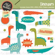 A collection of fierce (but cute and friendly) dinosaurs and speech bubble roars! Also included are 3 seamless repeat pattern swatches which co-ordinate with the designs