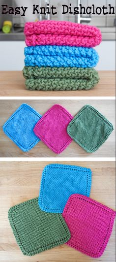 Easy Knit Dishcloth / Washcloth Great for beginners. Read More at: homes-makeovers.b The post Easy Knit Dishcloth / Washcloth appeared first on Knitting ideas. Knitted Washcloth Patterns, Knitted Washcloths, Dishcloth Knitting Patterns, Free Knitting, Crochet Patterns, Start Knitting, Knitting With A Loom, Knitting Needles, Simple Knitting Patterns