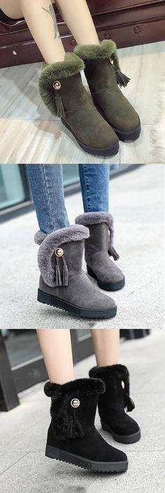 US$23.81 Tassel Fur Lining Slip On Snow Boots