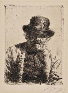 Anders Zorn Vicke; Djos Mats, 2 etched portraits, 195 x 290mm., 160 x 120mm., respectively, both signed in pencil, lower right, slight browning, each hinged into mounts, [A281; A243]; Mme Simon, published in Pan, etching, 235 x 160mm., letterpress caption, in lower margin, hinged into mount, [A67], early 20th century (3)