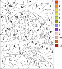 Printable Happy Thanksgiving Cornucopia Color By Number Page