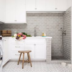 "204 Likes, 8 Comments - Brandon Architects (@brandonarchitects) on Instagram: ""•From laundry to a dog bath, these cement tiles and fresh blooms make any chore better•…"""