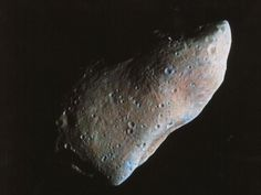 951 Gaspra (18.2×10.5×8.9 km), a main belt asteroid and the first asteroid ever closely approached