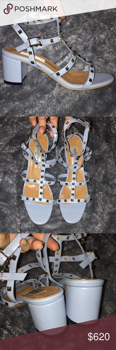 Valentino Garavani Rockstud leather sandals ✨100% authentic✨ brand new never been used! I don't have the boxing for them. If purchased I promise to box them up right & cute!!🌨 I wish they had fit me so badly!!!! These babies deserve a good home & NEED to be shown off stunting the streets.... or a nice dinner/party.   I'm a true 7.5. They almost felt like they would've fitted but no.): The shoe size says 41, US size=11. Honestly though, I feel they'd fit a size 9.5 - 10.  Please ask any…