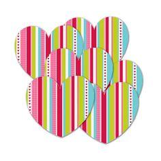 Originales troquelados para añadir un poco de color a tu decoración San Valentín! De www.fiestafacil.com, $1.95 el paquete de 10 / Original heart cutouts to add a touch of glamour to your Valentine's Day decoration! From www.fiestafacil.com