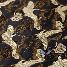 桑蚕丝真丝提花面料织锦 中国风蜻蜓竹叶仙鹤旗袍手工布艺DIY面料