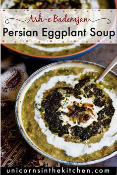 Filled with nutrient ingredients and great flavors, this Persian style healthy Eggplant Soup called Ash-e Bademjan is a delicious choice for cold days. This vegetarian and gluten free soup is super tasty and easy to make! If you're looking for a new eggplant recipe, give this soup a try, it's s simple and delicious! Vegan Soups, Vegan Dishes, Food Dishes, Grilled Eggplant Recipes, Healthy Eggplant, Vegetarian Recipes Easy, Cooking Recipes, Healthy Recipes, Healthy Meals