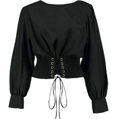 Boohoo Olivia Corset Detail Blouse MXN) ❤ l. Teen Fashion Outfits, Edgy Outfits, Girl Fashion, Fashion Design, Work Outfits, Kimono Blouse, Crop Blouse, Shirt Blouses, Kawaii Clothes