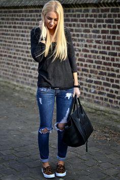Peerless Closet's destroyed jeans + leo slip-ons + Céline bag