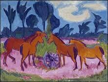 Dit is expressionistisch omdat je alle details bij de paarden ziet