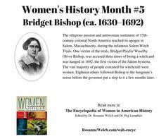 Women's History Month - 5 in a series - Bridget Bishop
